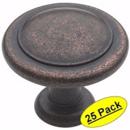 Amerock BP1387-RBZ Rustic Bronze Reflections Round Cabinet Hardware Knob, 1-1/4″ Diameter – 25 Pack