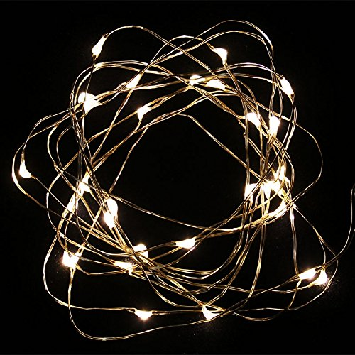 MUCH Led String Lights Copper Wire 10ft 30 LEDs Warm White Color Starry Light Battery Operated for Seasonal Decorative Christmas Holiday, Wedding, Parties