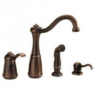 Pfister GT26-4NUU Marielle Single Handle Kitchen Faucet with Side Spray and Soap Dispenser, Rustic Bronze