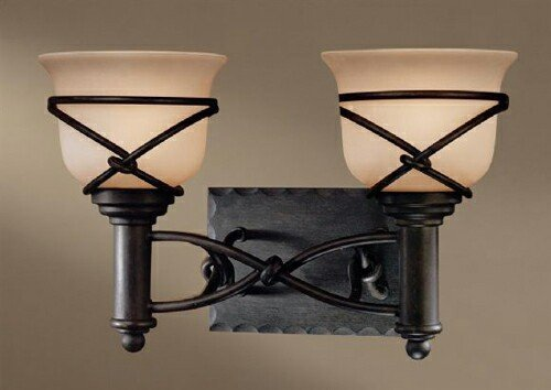 Minka Lavery 5972-1-138, Aspen II Reversible Glass Wall Vanity Lighting, 2 Light, 200 Watts, Bronze