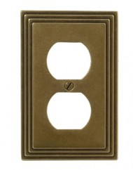 Amerelle 84DRB Steps Cast Metal Wallplate, Rustic Brass
