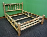 Midwest Log Furniture- Rustic Pine Log Bed – King