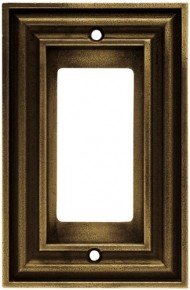 Liberty Hardware 64730 Rustic Edges Single Decorator Wall Plate, Tumbled Antique Brass