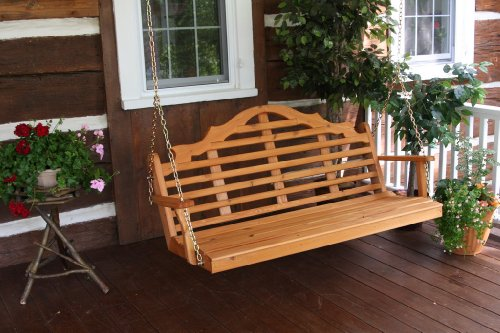 Cedar 5 Foot Marlboro Porch Swing – STAINED- Amish Made USA -Natural