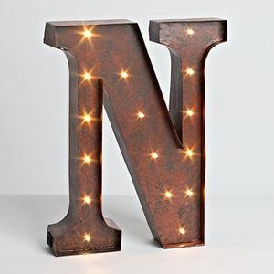 "12″ – Rustic Brown – Metal – Battery Operated – LED – Lighted Letter ""N"" 