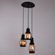 UNITARY BRAND Glass Shade Mason Jar Pendant Light Max 60W With 3 Lights Plating Finish