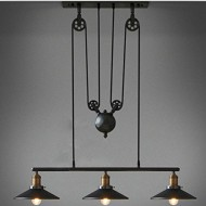 WinSoon Creative Pulley Design Black Iron Painted 3-Lights Island Light Bar Retro Hanging Lamp 3 Heads