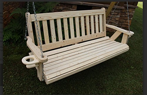 Amish Heavy Duty 700 Lb 5 Ft. Mission Style Porch Swing with Cupholders – Made in USA