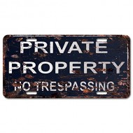PRIVATE PROPERTY No Trespassing Sign Chic Wood Vintage Rustic Sign Digital Printed