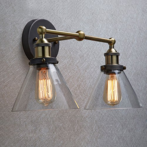 Ecopower Industrial Edison Antique Glass 2-Light Wall Sconces Simplicity