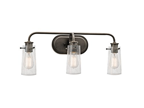 Kichler 45459OZ Braelyn 3-Light Vanity Fixture and Clear Seedy Glass, Olde Bronze Finish