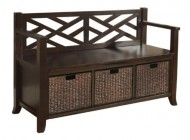 Simpli Home Adrien Entryway Storage Bench, Espresso Brown