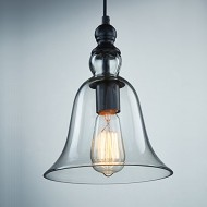Ecopower 1 Light Vintage Hanging Big Bell Glass Shade Ceiling Lamp Pendent Fixture