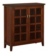 Simpli Home Artisan Medium Storage Cabinet, Medium Auburn Brown