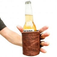 Rustic Leather Beer Glove Handmade by Hide & Drink :: Bourbon Brown