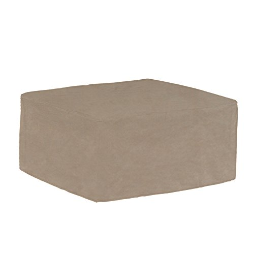 Budge English Garden Large Outdoor Ottoman/Coffee Table Cover P5A36PM1, Tan Tweed (20 H x 26 W x 50 L)