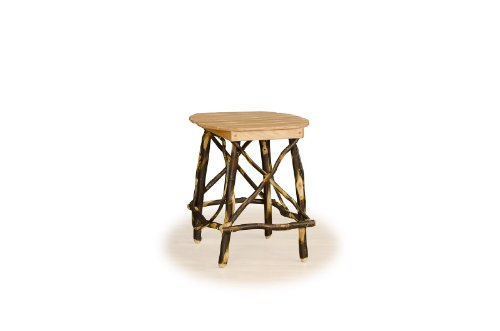 Rustic Hickory Round 4-Leg End Table- OAK TOP – Amish Made