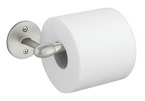 mDesign Toilet Paper Holder for Bathroom – Wall Mount, Satin