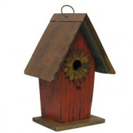 Tall Red Wood and Metal Birdhouse with Rustic Sunflower