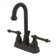 Kingston Brass KB3615TL Deck Mount Lavatory Faucet with Lever Handle and Pop-Up, Oil Rubbed Bronze