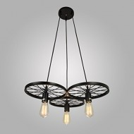 Electro_BP;Vintage Antique Metal Art Large Barn Wheels Hanging Pendant Light Max 180W With 3 Lights Black Finish