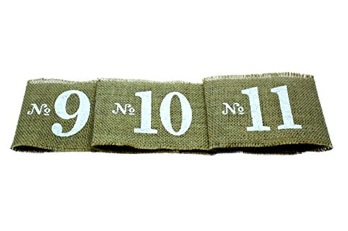 Rustic Burlap Table Centerpiece Number Wraps (1-20)