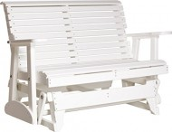 Outdoor Polywood 4 Foot Porch Glider – Plain Rollback Design *WHITE* Color