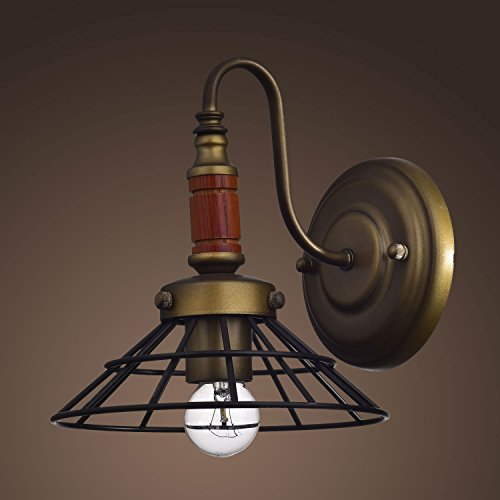 YOBO Lighting Antique 1-light Wood Rustic Gooseneck Caged Barn Wall Sconce Lighting