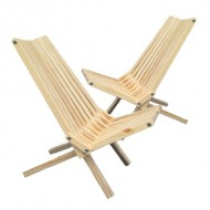 GloDea X36P1NS2 Lounge Chair, Natural, Set of 2