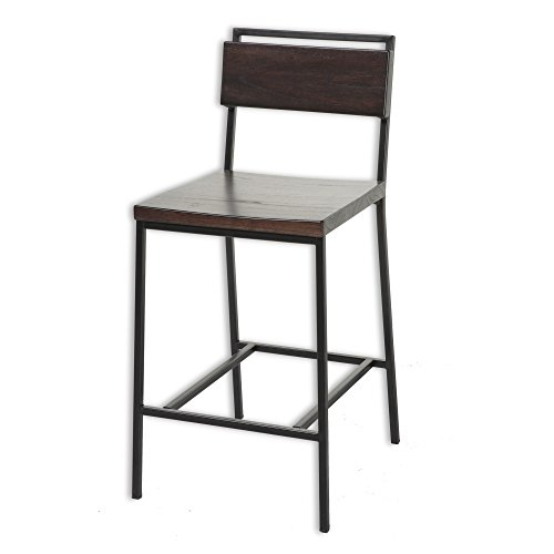 Fashion Bed Group C1X120 Olympia Metal Bar Stool with Black Cherry Wooden Seat and Matte Black Frame Finish, 30-Inch