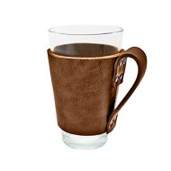 Rustic Leather Pint Sleeve with Handle Handmade by Hide & Drink :: Bourbon Brown