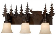 Vaxcel USA VL55403BBZ Bryce 3 Light Rustic Bathroom Vanity Lighting Fixture in Bronze, Glass