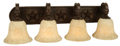 Craftmade 15029AZ4 Vanity Light with Antique Scavo Glass Shades, Antique Bronze Finish