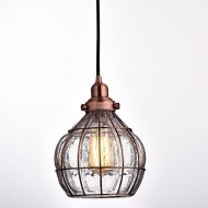 YOBO Lighting Vintage Cracked Glass & Rustic Wire Ceiling Pendant Light, Red Antique Copper