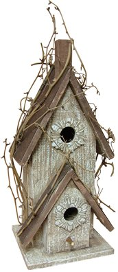 Rustic Country Birdhouse w/Embossed Tin Roof