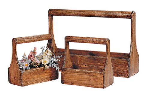 old toolbox style Wooden Planter carrier plant Baskets – Set of 3 – Great for Rustic Wedding