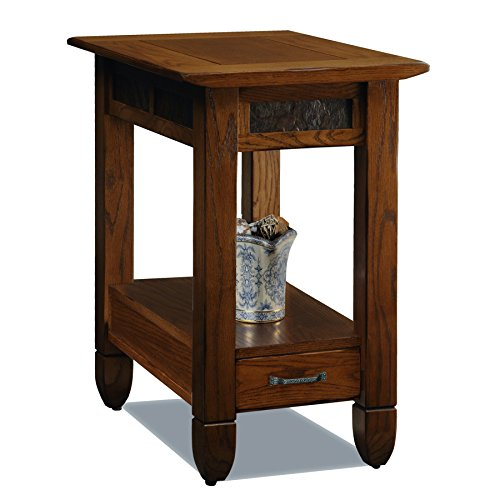 Slatestone  Oak Chairside End Table – Rustic Oak Finish