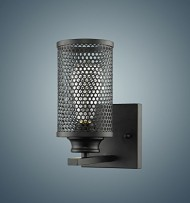 YOBO Lighting Vintage Industrial Metal Mesh Black Wall Sconce Lighting