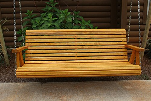 ROLL BACK Amish Heavy Duty 800 Lb 4ft. Porch Swing – Cedar Stain – Made in USA