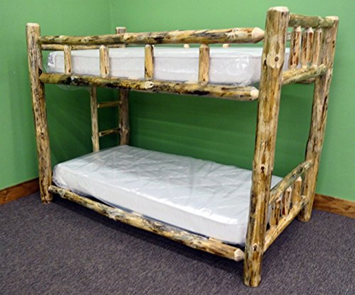 Midwest Log Furniture – Rustic Log Bunkbed – Twin