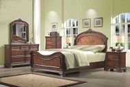 Roundhill Furniture Huat Crowning Rustic 5-Piece Wood Bedroom Set with Bed, Dresser, Mirror, Nightstand, Chest, Queen, Cherry