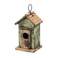 7″ Green Hanging Rustic Style Birdhouse