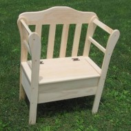 Solid Wood Unfinished Chair Small Storage Bench Amish Made