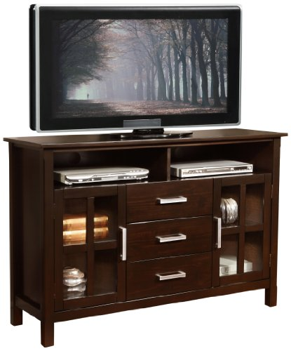 Simpli Home Kitchener Tall TV Media Stand for TVs up to 60″, Dark Walnut Brown