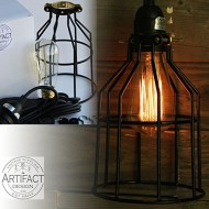 Industrial Cage Pendant Light with 15′ Toggle Switch Black Plug-in Cord and Edison Bulb Included