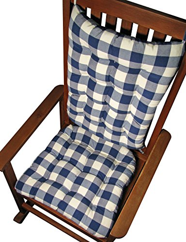 Rocker Cushion Set – Vignette Blue Buffalo Check Plaid – Standard Size – Seat Cushion and Back Rest – Reversible, Latex Foam Fill – Made in USA