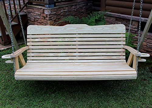 Handmade Amish Heavy Duty 800 Lb 5ft. Porch Swing With Cupholders – Made in USA
