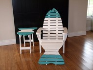 Poly Fish Adirondack Chair with Ottoman and Side Table *12 Colors* – Lime Green – Amish Made in USA