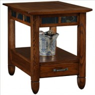 Slatestone  Oak Storage End Table – Rustic Oak Finish