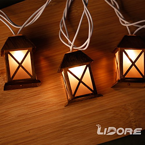 String Of Lantern Lights Indoor : LIDORE Set of 10 Warm White Glow Bronze Metal House Shaped Lantern Plug-in String Light For ...
